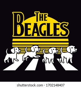 The Beagle's Street dogs on the street Vector poster or Vector T-shirt Fashion Design