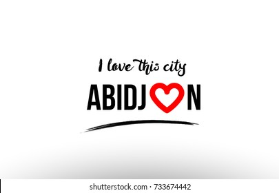 Beaituful typography design of city abidjan name logo with red heart suitable for tourism or visit promotion
