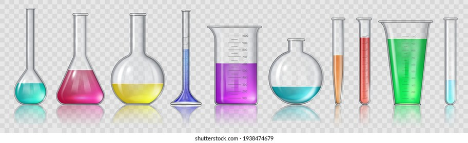 Beaker with chemicals. Realistic 3D laboratory glass equipment, test tubes and flask. Lab glassware for medical or science study vector set
