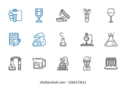 beaker icons set. Collection of beaker with test tubes, scientist, flask, trial, wine glass, test tube. Editable and scalable beaker icons.