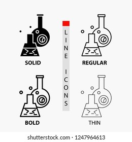 beaker, lab, test, tube, scientific Icon in Thin, Regular, Bold Line and Glyph Style. Vector illustration