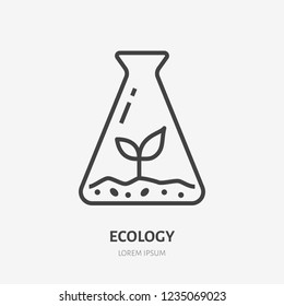 Beaker with plant sprout flat line icon. Vector thin sign of environment protection, ecology research logo. Agriculture illustration.