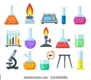 Beakers and burners. Vector beaker and burner set isolated on white background, chemical laboratory glassware