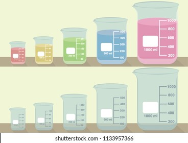 Beakers laboratory glassware vector illustration. 5 sizes of beakers glassware vector. Set of empty beakers and beakers with colorful liquid inside.