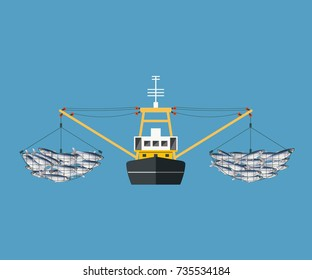 Beam or outrigger trawler. Vector illustration isolated on the blue background