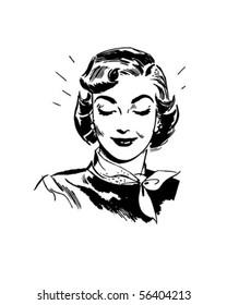 Beaming Woman - Retro Clip Art