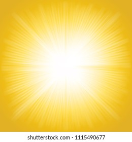 Beams of light, shiny sun rays summer background.