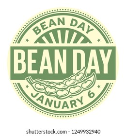 Bean Day, January 6, rubber stamp, vector Illustration