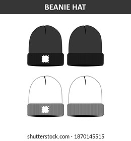 Beanie Hat Black and White Design for Commercial Use