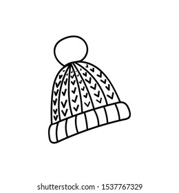 Beanie hat in doodle style.Hand drawn cold winter Christmas holidays hat.