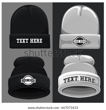 beanie hat vector template stock vector royalty free 667072633