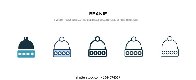 beanie icon in different style vector illustration. two colored and black beanie vector icons designed in filled, outline, line and stroke style can be used for web, mobile, ui