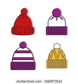 Beanie icon set. Color outline set of beanie vector icons for web design isolated on white background