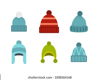 Beanie icon set. Flat set of beanie vector icons for web design isolated on white background