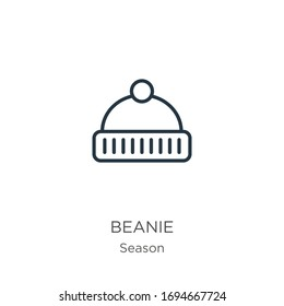 Beanie icon. Thin linear beanie outline icon isolated on white background from season collection. Line vector sign, symbol for web and mobile