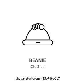 Beanie outline vector icon. Thin line black beanie icon, flat vector simple element illustration from editable clothes concept isolated on white background