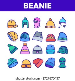 Beanie Seasonal Hat Collection Icons Set Vector. Beanie Cap And Head Facial Mask Season Clothing Accessory For Cold Weather Concept Linear Pictograms. Color Illustrations