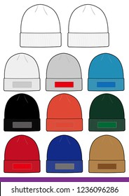 Beanie set Fashion flat technical drawing vector template