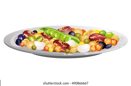 Beans (common bean. chickpeas, lentils, peas, soybeans). Hand drawn vector illustration of plate with mixed legumes seeds on white background.