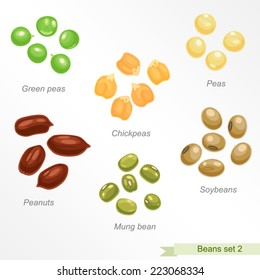 Beans and peas second icon set / Solid fill vector icons set with names