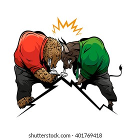 Bear against bull. Financial competition, hand drawn vector illustration