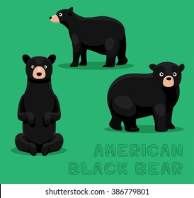 Bear American Black Bear Cartoon Vector Illustration