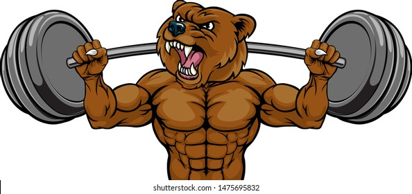 A bear animal body builder sports mascot weight lifting a barbell