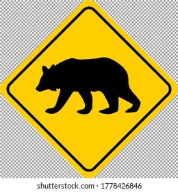 Bear Animal Wildlife Warning Printable Yellow Sticker Sign