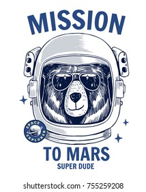 Bear astronaut, hand drawn vector animal illustration, for t-shirt and other uses.
