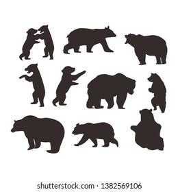 bear baby icon logo set