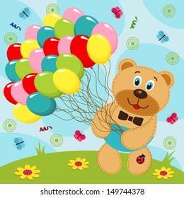 Bear with balloons - vector illustration
