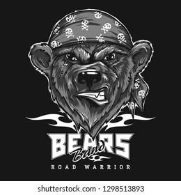 Bear biker, motorcycle animal. Hand drawn image for tattoo, emblem, badge, logo, patch, t-shirt