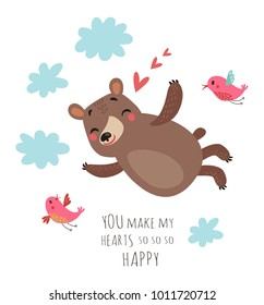 Bear and birds Valentines card