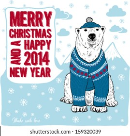 Bear in blue knitted hat and sweater. Merry Christmas and Happy New Year greeting  card.