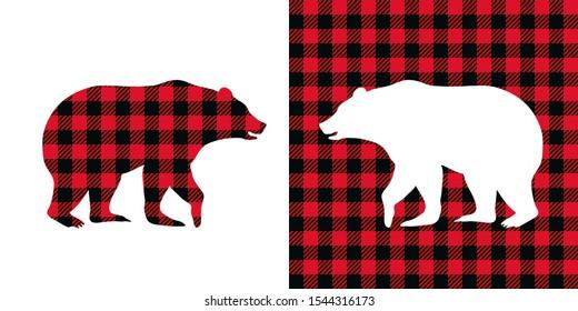 Bear buffalo plaid  set. Vector illustration woodland  animal . Lumberjack  clipart.