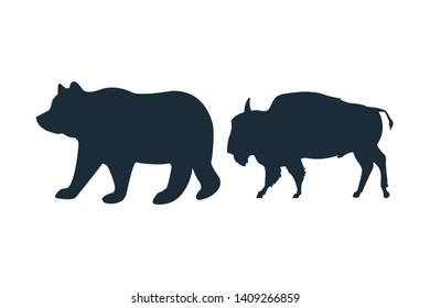 Bear and buffalo wild animals black silhouettes isolated vector illustration graphic design