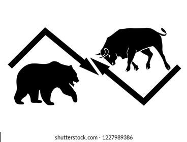 Bear and Bull, symbols of stock market trends. Vector illustration with elements as separate objects.