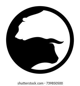 bear and bull vector logo. icon vector.