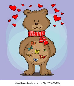 A bear with butterflies in the stomach on blue background