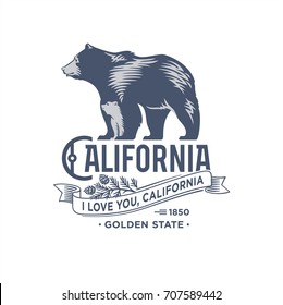 Bear with bear, California, stylized emblem of the state of America, illustration, vector