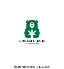 bear cannabis leaf logo vector icon template