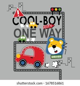 Bear and car on the road. funny animal cartoon. vector illustration.