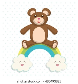 Bear cartoon icon. Baby shower invitation card. Colorful design. Vector illustration
