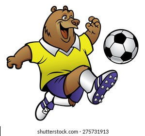 bear cartoon playing soccer