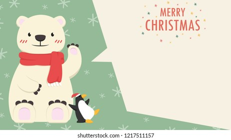 Bear cartoon vector. character design. free space for text. wallpaper. penguin vector.