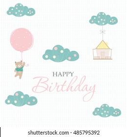 Bear cartoons with hot air balloon on sky ,Design for birthday cards,invitation,Vector illustrations