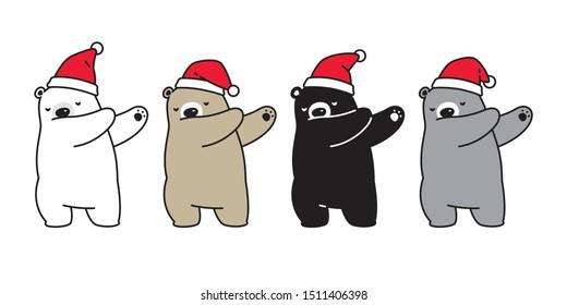 Bear Christmas vector Dab dance icon polar bear Santa Claus hat logo cartoon character doodle illustration design