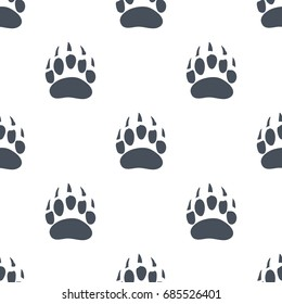 Bear Claw. Bear Footprint Seamless Pattern. Vector illustration