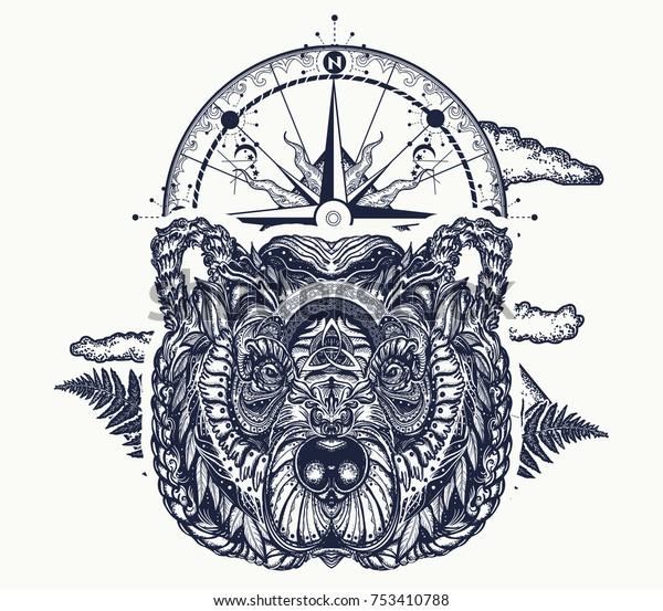 Bear Compass Tattoo Tshirt Design Symbol Animals Wildlife Parks