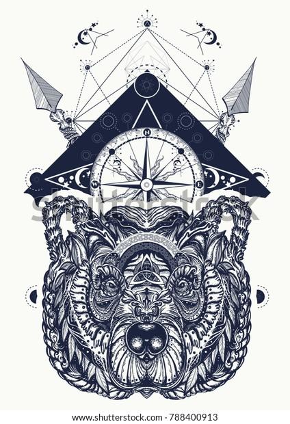 Bear Compass Tattoo Tshirt Design Arkistovektori Rojaltivapaa